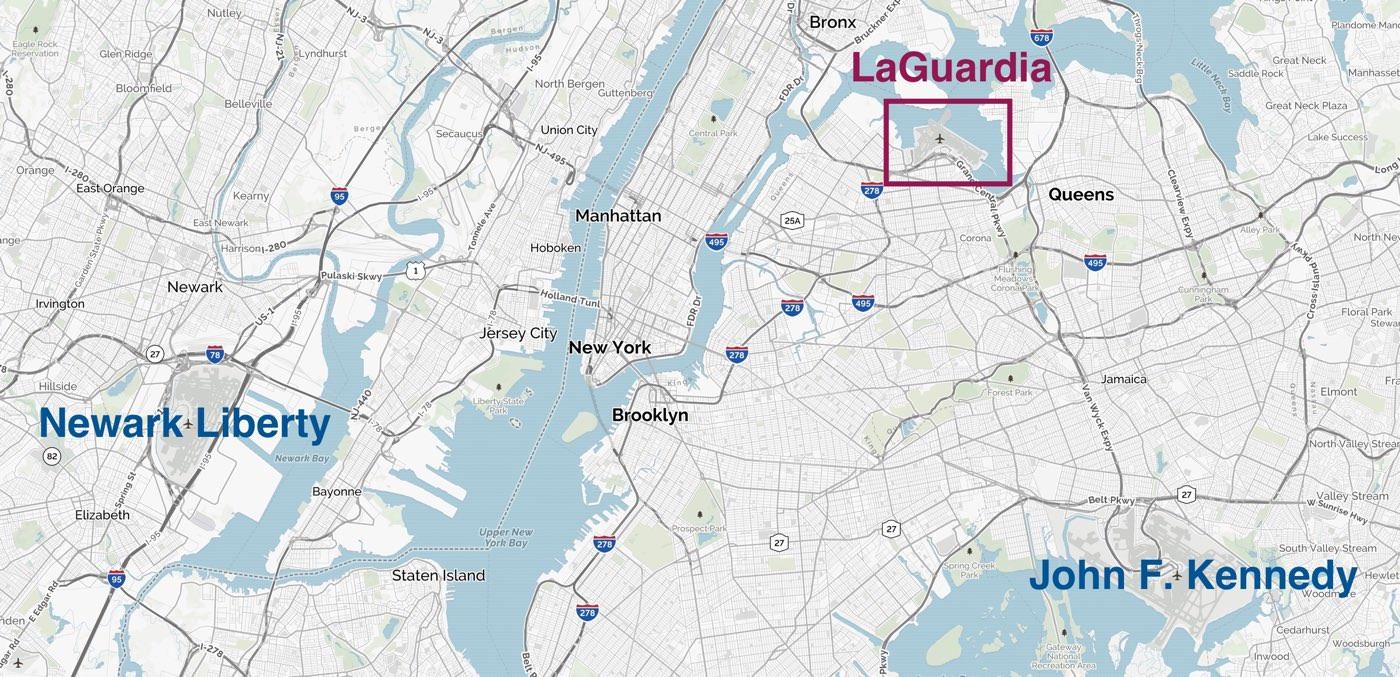 Cómo ir del aeropuerto LaGuardia a ManhattanEl aeropuerto de LaGuardia es el principal aeropuerto de Nueva York paravuelos nacionales. Está en Queens a una distancia de 13 kilómetros de Manhattan y esel aeropuerto más cercano a la ciudad de Nueva York. Tiene 4 terminales y es el más pequeño de los tres aeropuertos de Nueva York