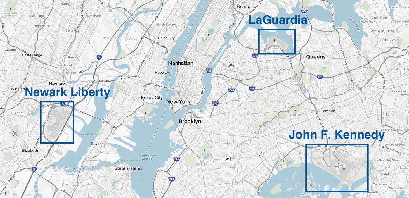 La ciudad de Nueva York dispone de dos aeropuertos internacionales: aeropuerto John Fitzgerald Kennedy y aeropuerto Newark Liberty. Existe un tercer aeropuerto, LaGuardia, pero es para vuelos domésticos.